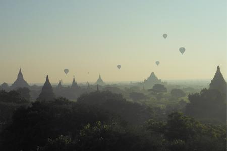 bagan myanmar burma sunrise balloons hire rent temples