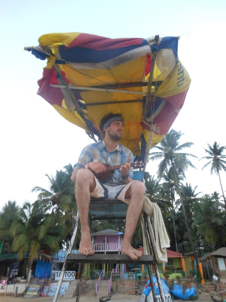 palolem beach goa india ukulele